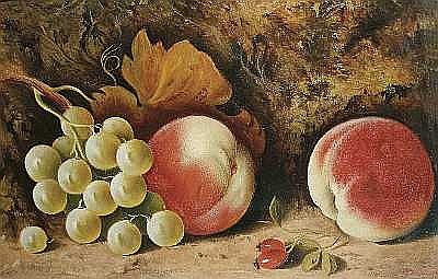 Frank Chaplin (British, active circa 1879) Still life with peaches and grapes; Still life with pear, plums and grapes, a pair each 19 x 29.6cm (7 1/2 x 11 5/8in) (2).