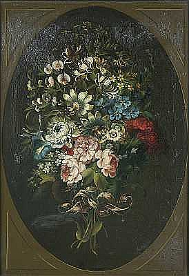 James Lambert Junior (Lewes 1741-1799 London) A ribbon tied bouquet of flowers, within a painted oval