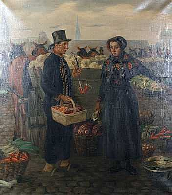 Albert Petersen (Danish, 1875-1957) Market Scene