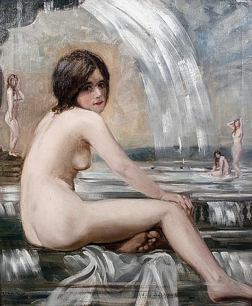 Charles Sims (British, 1873-1928) 'The Fountain'