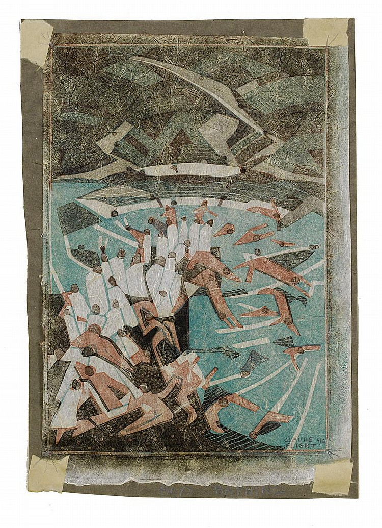 Claude Flight (British, 1881-1955) Boys Bathing The rare linocut printed in colours, c.1935, on tissue thin Japan nacree, stuck to a charcoal grey support sheet, signed and numbered 4/50 in pencil lower right, titled on the support sheet lower right,