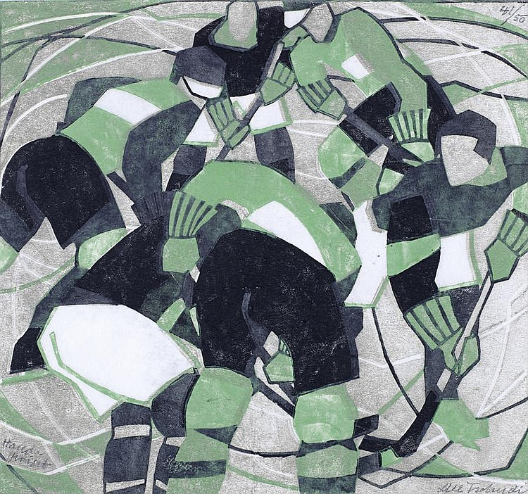 Lill Tschudi (Swiss, 1911-2001) Ice Hockey Linocut printed in black, green and greyish beige, 1933, a strong and vibrant impression, on off-white oriental laid paper, with margins, signed in pencil lower right, numbered 41/50 top right, inscribed