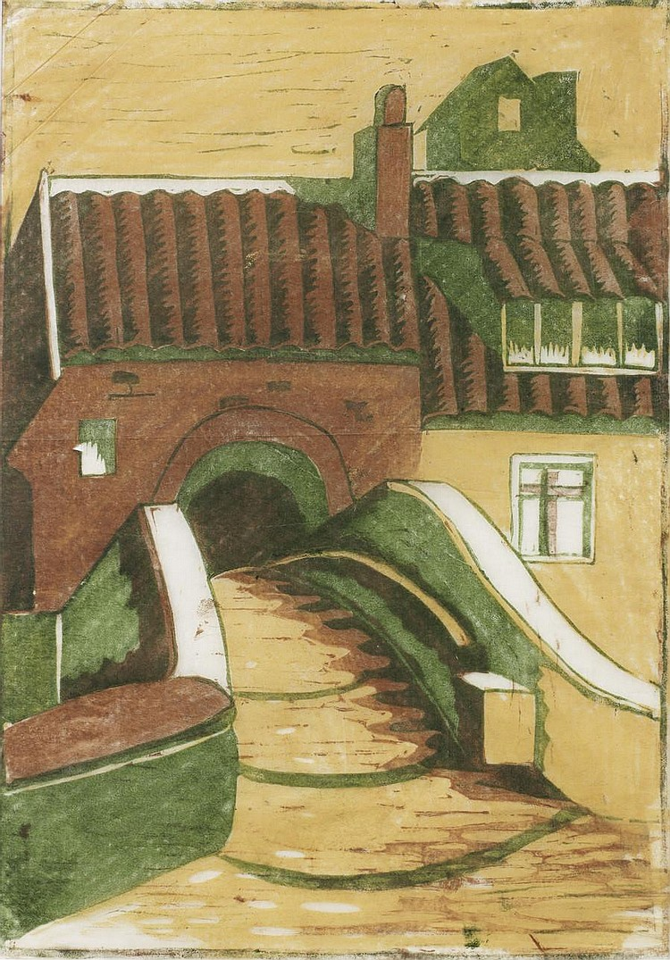 Ursula Fookes (British, 1906-1991) House on a Canal Linocut printed in colours, c.1930, on tissue thin Japan, a rare unsigned trial proof, with margins, 272 x 190mm (10 3/4 x 7 1/2in)(B)