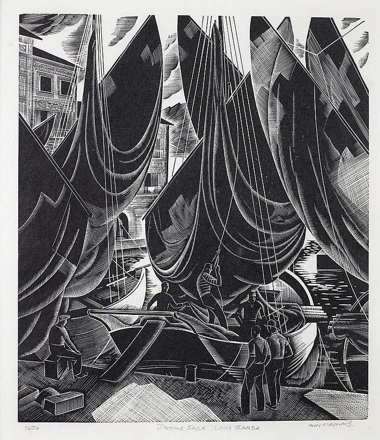 Iain MacNab (British, 1890-1967) Drying Sails, Lake Garda Wood engraving, 1938, a good impression, on Japan, signed, titled and numbered 26/50 in pencil, with margins, 217 x 190mm (8 1/2 x 7 1/2in)(B)