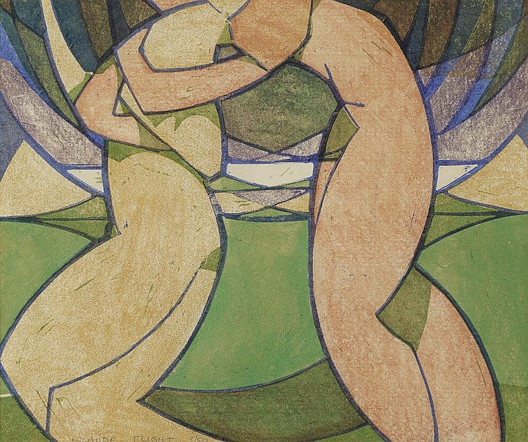 Claude Flight (British, 1881-1955) Spring Linocut printed in yellow ochre, vermilion, mauve, emerald green and cobalt blue, 1926, a strong and bright impression, on thin cream oriental laid paper, signed and numbered 9/50 in pencil, with margins, 247