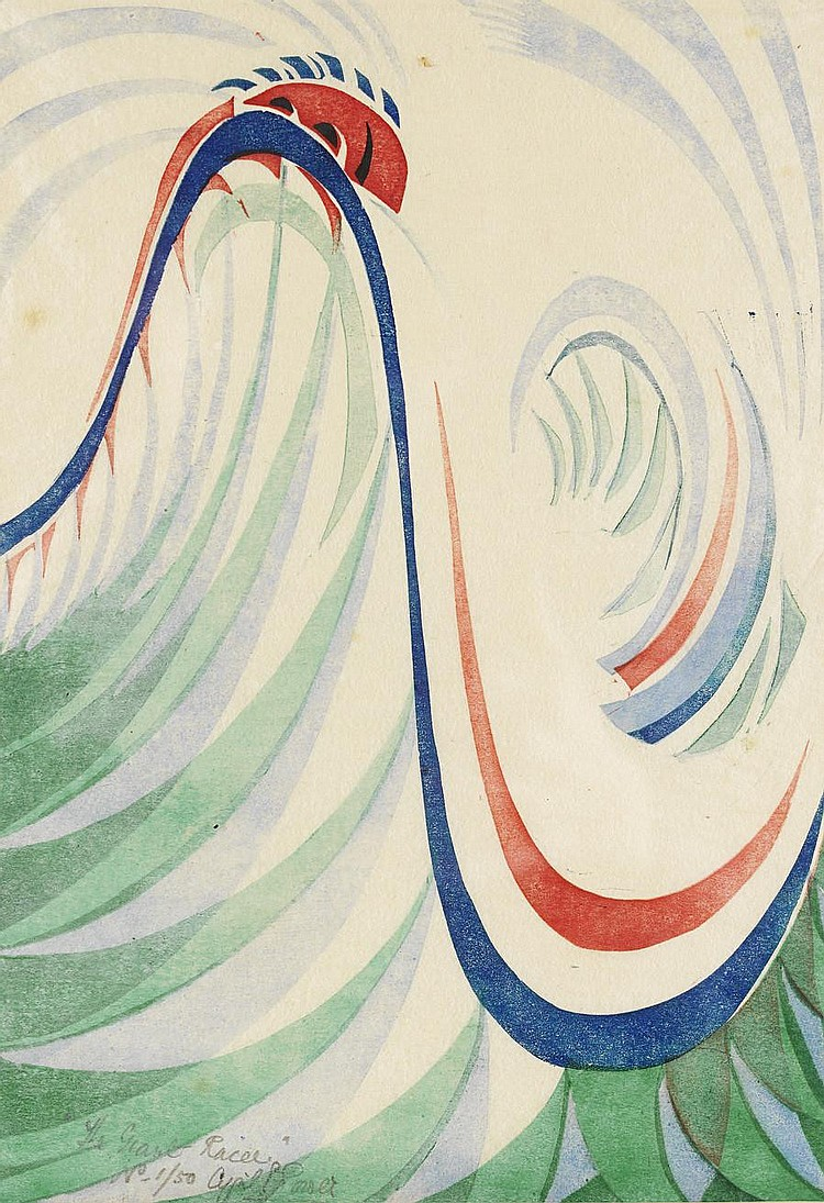 Cyril Edward Power (British, 1872-1951) The Giant Racer Linocut printed in viridian, light cobalt blue, spectrum red and dark blue, c.1930, on buff oriental laid tissue, signed, titled and numbered 1/50 in pencil lower left of image, with margins,