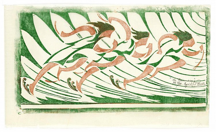 Cyril Edward Power (British, 1872-1951) The Runners Linocut printed in venetian red and viridian, c.1930, on buff oriental laid tissue, signed, titled and numbered 11/50 in pencil, with margins, 174 x 350mm (6 7/8 x 13 6/8in)(B)