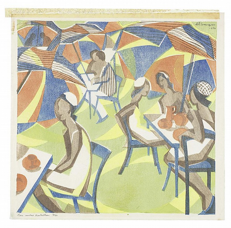 William Greengrass (British, 1896-1970) Tea under Umbrellas Linocut printed in colours, 1934, the colours bright and fresh, on Japan, signed and dated in pencil upper right, titled and numbered 4/50 in pencil lower left, with margins 250 x 257mm (9