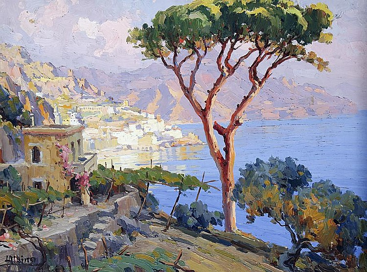 Luca Albino (Italian, 1884-1952) The Amalfi coast unframed