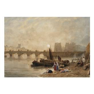Frederick Nash O.W.S. (British, 1782-1856) The Pont Neuf, Paris - Sunrise watercolour