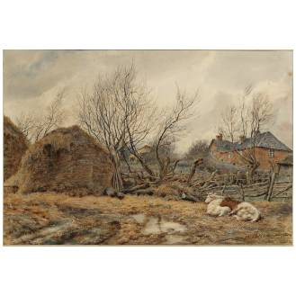 Wilmot Pilsbury R.W.S. (British, 1840-1908) The farmyard signed and dated 1884, watercolour 24.8 x 36.2 cm. (9 3/4 x 14 1/4 in.)