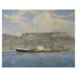 Arthur James Wetherall Burgess (British, 1879-1957) M.V. DIPLOMAT at Cape Town signed, oil on canvas 60 x 75cm. (24 x 30in.) See also lot 16