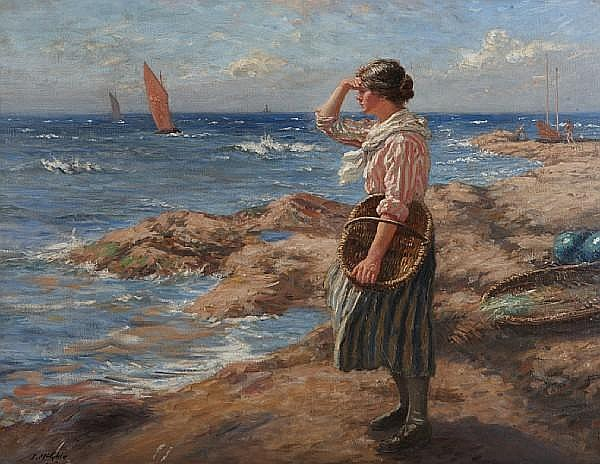 John McGhie (British, 1867-1952) Waiting for the fleet, East Neuk