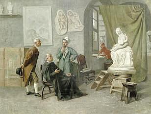 GUSTAVUS ARTHUR BOUVIER (BRITISH, ACTIVE 1839-1888)   The sculptor's atelie