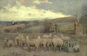 JAMES THWAITE IRVING (BRITISH, ACTIVE CIRCA 1880-1909)   The sheep pen   si