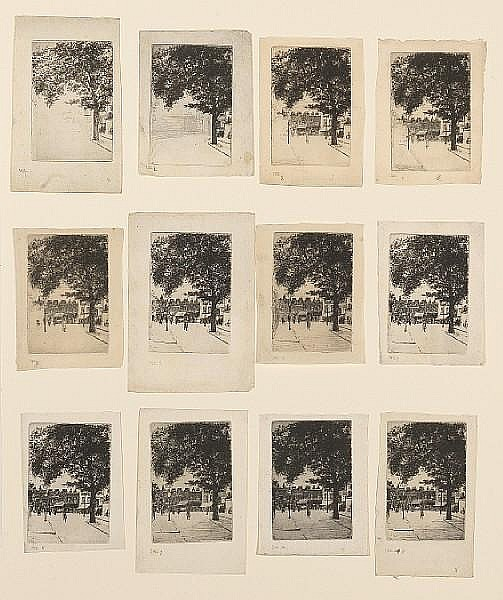 Theodore Roussel (British, 1847-1926) The sign of the white horse, Parson's Green Fifteen etchings, 1906, working proofs of all thirteen states, including two impressions of the third state and a rich impression of the published state which is signed