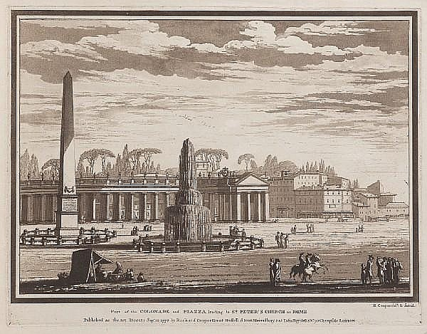 Richard Cooper (the younger) (British, circa 1740-1814) Views of Rome and Environs Aquatints, 1778-78, twelve from the series, printed in sepia, on laid, published by the artist, 400 x 520mm (15 3/4 x 20 1/2in)(PL) 12 unframed