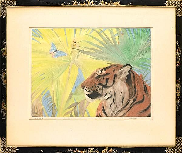 Edward Julius Detmold (British, 1883-1957) The Jungle King Aquatint with hand colour, on japan, signed and numbered 8/12 in pencil, 390 x 535mm (15 1/3 x 21in)(PL)
