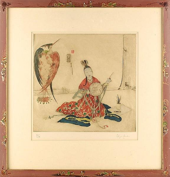 A Collection Elyse Ashe Lord (British, 1900-1971) Etchings with hand colour, on japan, each signed and numbered in pencil, entitled 'The Stork', 'The Philosopher', 'My Dress', 'The Acrobat', 302 x 317mm (11 5/6 x 12 1/3in)(PL)(and smaller) 4