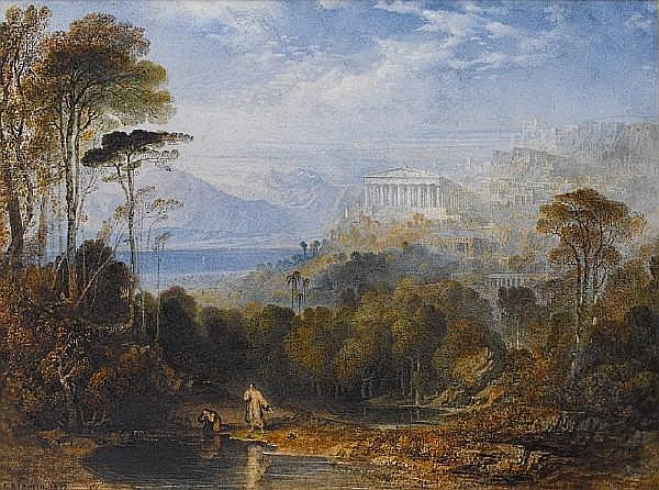 John Martin (British, 1789-1854) Diogenes throwing away his Cup