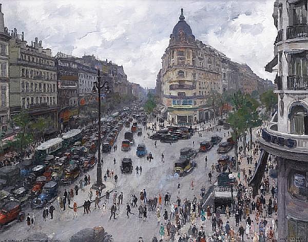 Jean-Louis Lefort (French, 1875-1945) Boulevard des Italiens et Boulevard Haussman