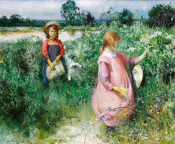 Arthur Hacker, RA (British, 1858-1919) Picking wildflowers