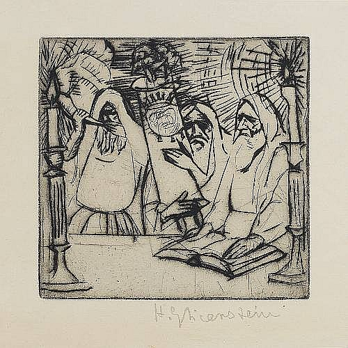 Enoch Henryck (Enrico) Glicenstein (Russian/American, 1870-1942) Yom Kippur Etching, on wove with wide margins, signed in pencil; faint time staining, otherwise in good condition, 150 x 150mm (5 7/8 x 5 7/8in)(PL)(unframed) Together with an ink