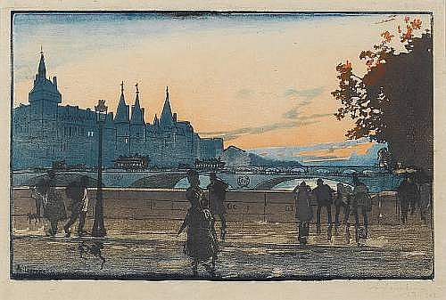 Auguste-Louis Lepere (French, 1849-1918) Le Palais de Justice, vue du Pont Notre Dame Woodcut, 1889, printed in colours, on tissue thin wove, signed in pencil, numbered 35/273 on the reverse; faint creasing, 193 x 300mm (7 3/4 x 11 3/4in)(I)