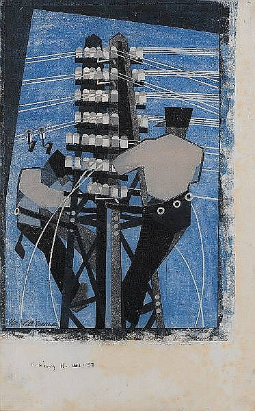 Lill Tschudi (Swiss, 1911-2001) Fixing the Wires Linocut, 1932, a good bright impression, printed in colours, on thin Japan paper, with wider right and lower margins, signed and numbered 1/50 in pencil, titled in black pen lower margin; taped along