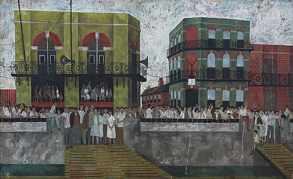 Alfred Daniels, RWS, RBA (British, born 1924) 'Hammersmith Regatta' 51 x 91cm.