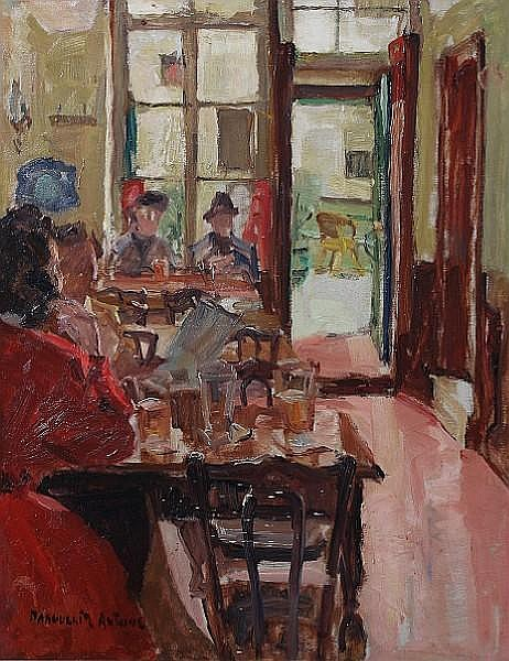 Marguerite Antoine (Belgian, 1907-1988) 'A l'etrille du vieux Bruxelles' 54 x 45cm.