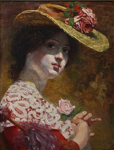 Emile Jacques (Belgian, 1874-1937) Portrait of a young lady wearing a straw hat 49.5 x 37.5cm.