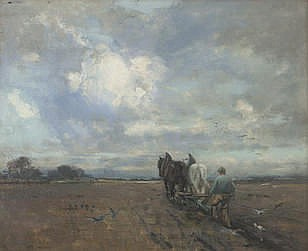 Jeannie Grant Stevenson (British, active 1886-1937) Cattle Ploughing