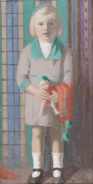 David W. Gunn (British, active 1927-1929) Portrait of Young Girl with doll