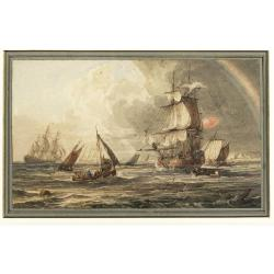Samuel Owen (British, d.1857) Busy shipping lanes offshore under clearing skies ; Running into danger a pair, both signedS.Owen and dated 1822(lower left), watercolour heightened with white each 14 x 22.8cm.(5 1/2 x 8 7/8in. ), (2).
