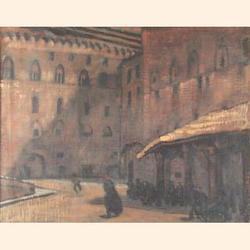 Elizabeth Polunin (British, b.1887), Corner of a Square in St Petersberg, oil on canvas, signed, 40 x 50cm