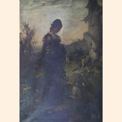 Alexander Liezen-Mayer (Austrian, 1839-1898), In the churchyard, oil on canvas, signed, 117 x 81cm