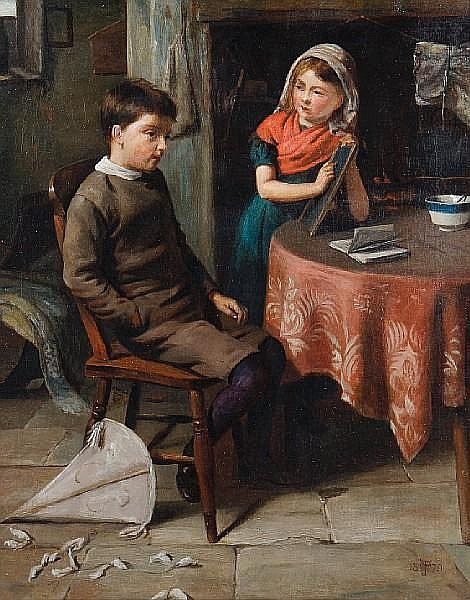 John Wells Smith (British, active 1870-1875) The reluctant pupil