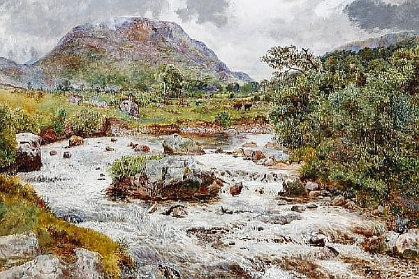 William Davis (British, 1812-1873) A Highland stream