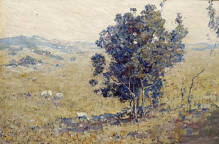 Attributed to Lydia Amanda Brewster Sewell (American, 1859-1926) Landscape with sheep