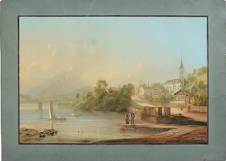 Aegidius Federle (Swiss, 1810-1876) Weggis; Fuelen; Schwyz, a set of three lake landscapes (unframed).