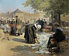 AR Emma Herland (French, 1856-1947) Sur la place à Concarneau, Emma Herland, Click for value