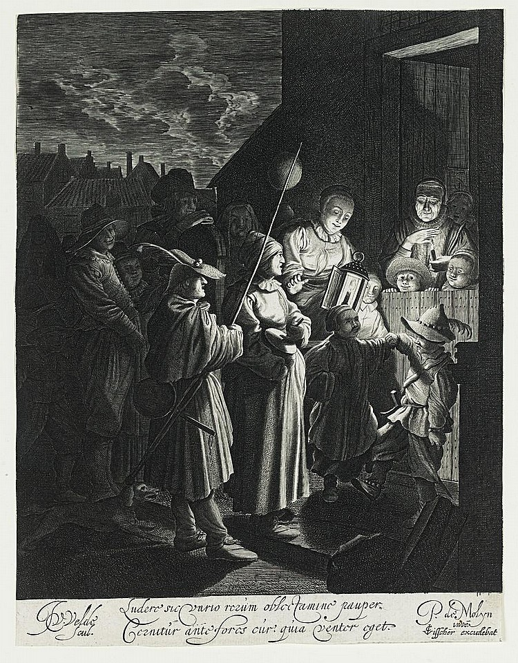 Jan van de Velde II (Dutch, circa 1593-1641) Shrove Tuesday Engraving, c1630, after Pieter de Molijn, a good impression on laid, trimmed to platemark, with the Latin text, the names of the two artists and the publisher C.J.Visscher below, 219 x 167mm
