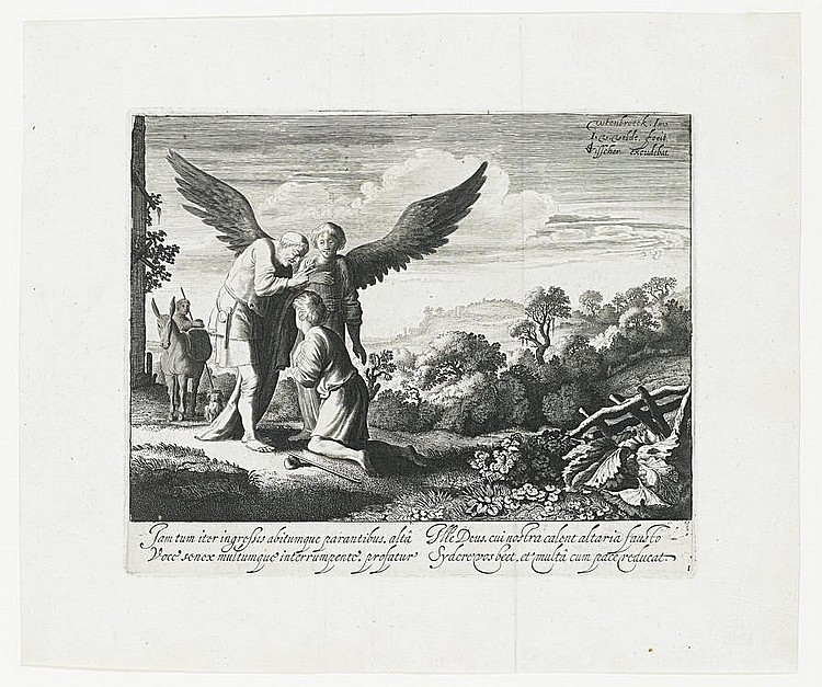 Jan van de Velde II (Dutch, circa 1593-1641) A large collection of Old Master Etchings Including 'The Story of Tobias', the set of four, c1630, on laid, 170 x 208mm (6 5/8 x 8 1/8in)(PL), together with a set of six landscapes with figures 'Derde