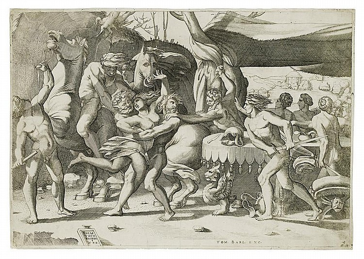 A Collection of Old Master engravings Three works by Enea Vico (1523-1567) including the 'Battle of the Laptiths and the Centaurs', 1542, after R.Fiorentino, seven works of biblical and mythological subjects and a portrait by Giulio Bonasone, four