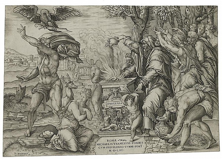 Nicolas Beatrizet (French, 1515-1565) The Sacrifice of Iphigenia Engraving, 1553, on laid, together with two others, 'The Death of Meleager' and 'The Ascension', 303 x 439mm (11 7/8 x 17 1/4in)(PL) 3 unframed