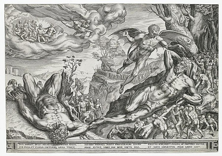 Cornelis de Cort (Dutch, 1533-1578) A collection of engravings Including 'Hercules beseiged by Pygmies', two impressions of 'Holy Family with St Anne and St John', 'Allegory on the Immortality of Virtue', 'St Jerome in the desert', 'The body of St
