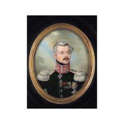 Stanislaw Marszalkiewicz (Polish, 1789-1872) An Officer, wearing dark green coat, with silver