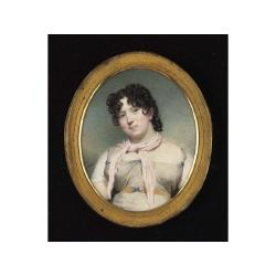 Andrew Robertson M.A. (Scottish, 1777-1845) A Lady, wearing pale grey dress with blue buttons,