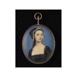 Penelope Carwardine (British, c.1730-1801) A young Lady, wearing gold figured black Tudor costume